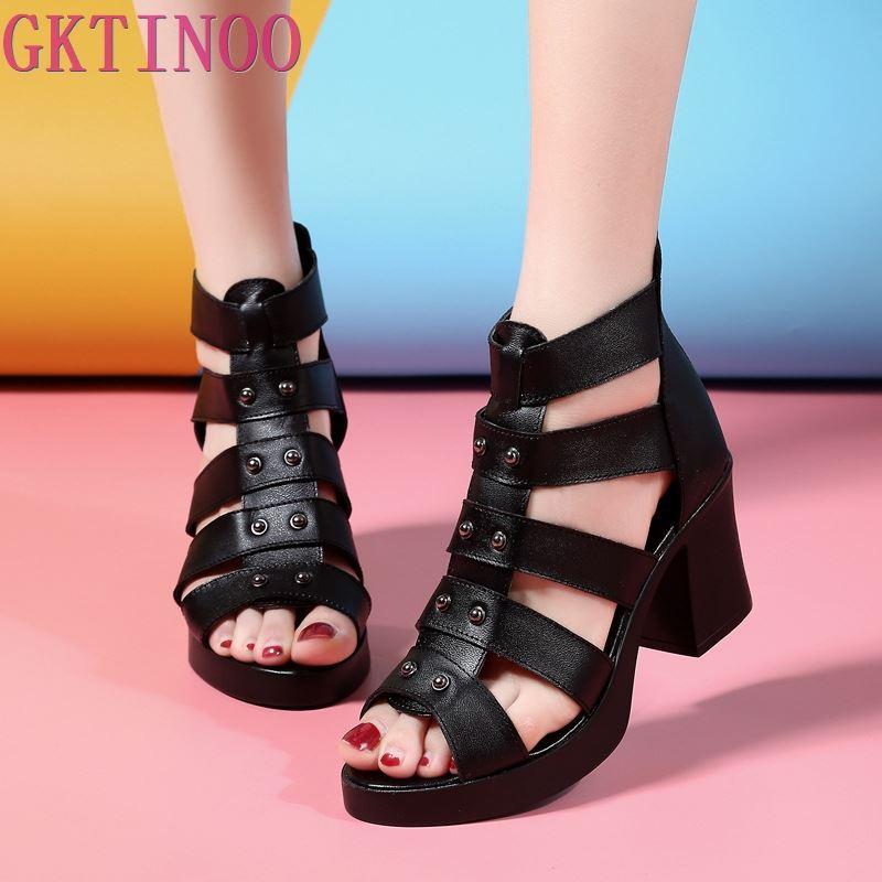 GKTINOO Women Sandals High Heels Genuine Leather 2019 New Summer Fashion Female Gladiator Sandals Platform Shoes Woman