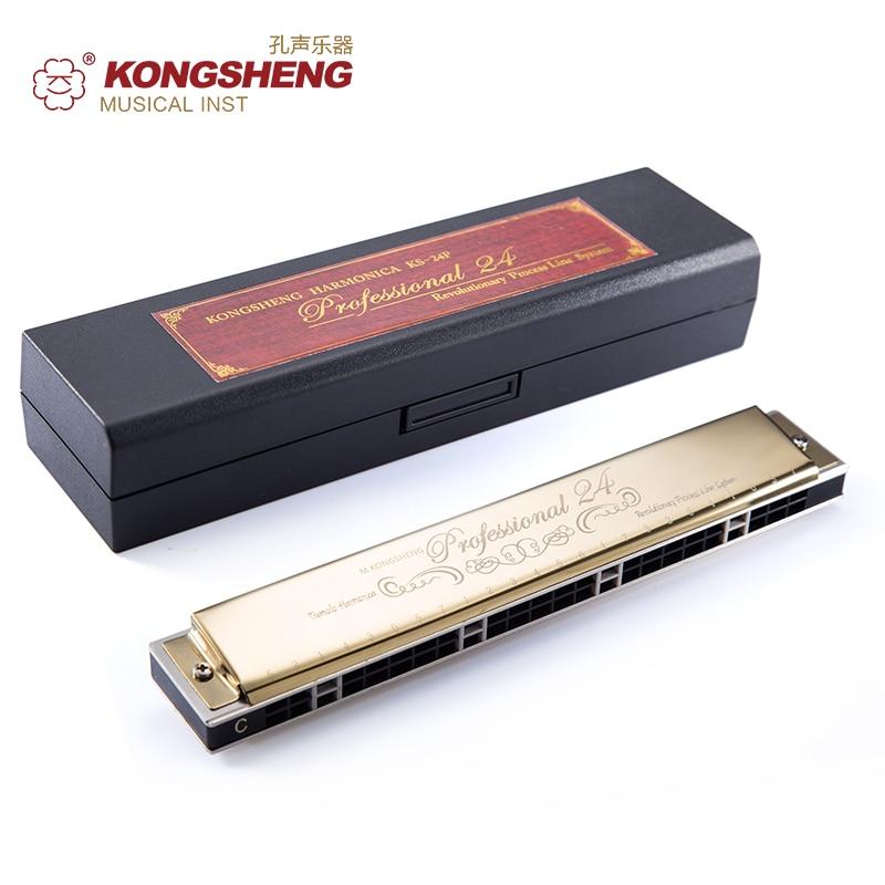 KONGSHENG trémolo armónica 24 agujeros para principiantes órgano de boca clave de C/# C/D/# D/E/F # F/G/# G/A instrumentos musicales Gaita con caja