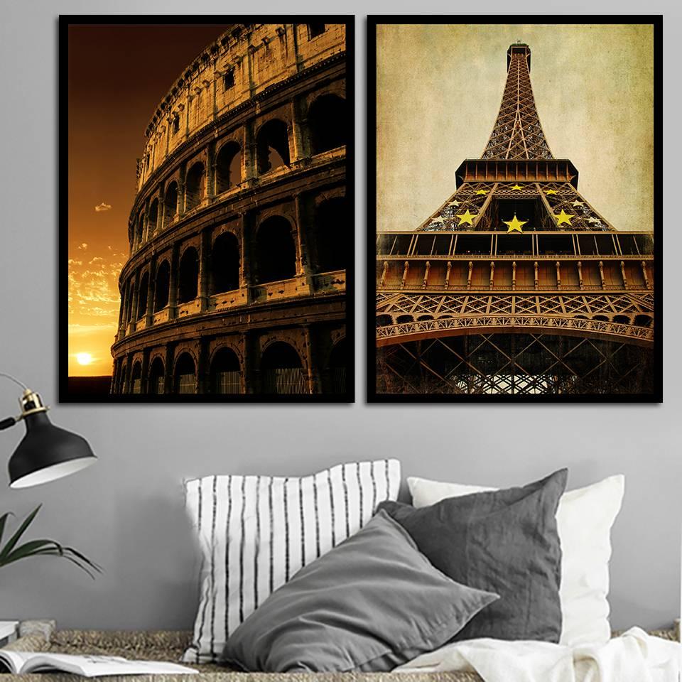 Lienzo retro romano Arena Torre Eiffel pintura pared arte pinturas póster e impresión decoración imagen para sala de estar B5258