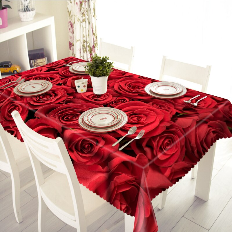 Mantel 3D Feliz Navidad rosa roja patrón impermeable paño grueso Rectangular y mantel de mesa redonda de boda