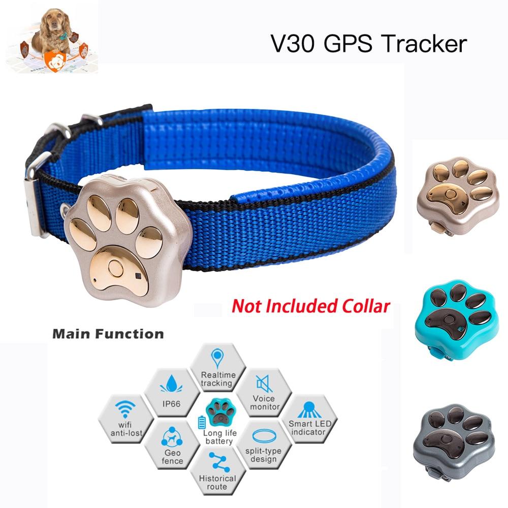 Venta caliente Mini rastreador V30 impermeable Anti-Pérdida animal SOS alarma inteligente con 3 colores para mascotas MRSVI gato perro