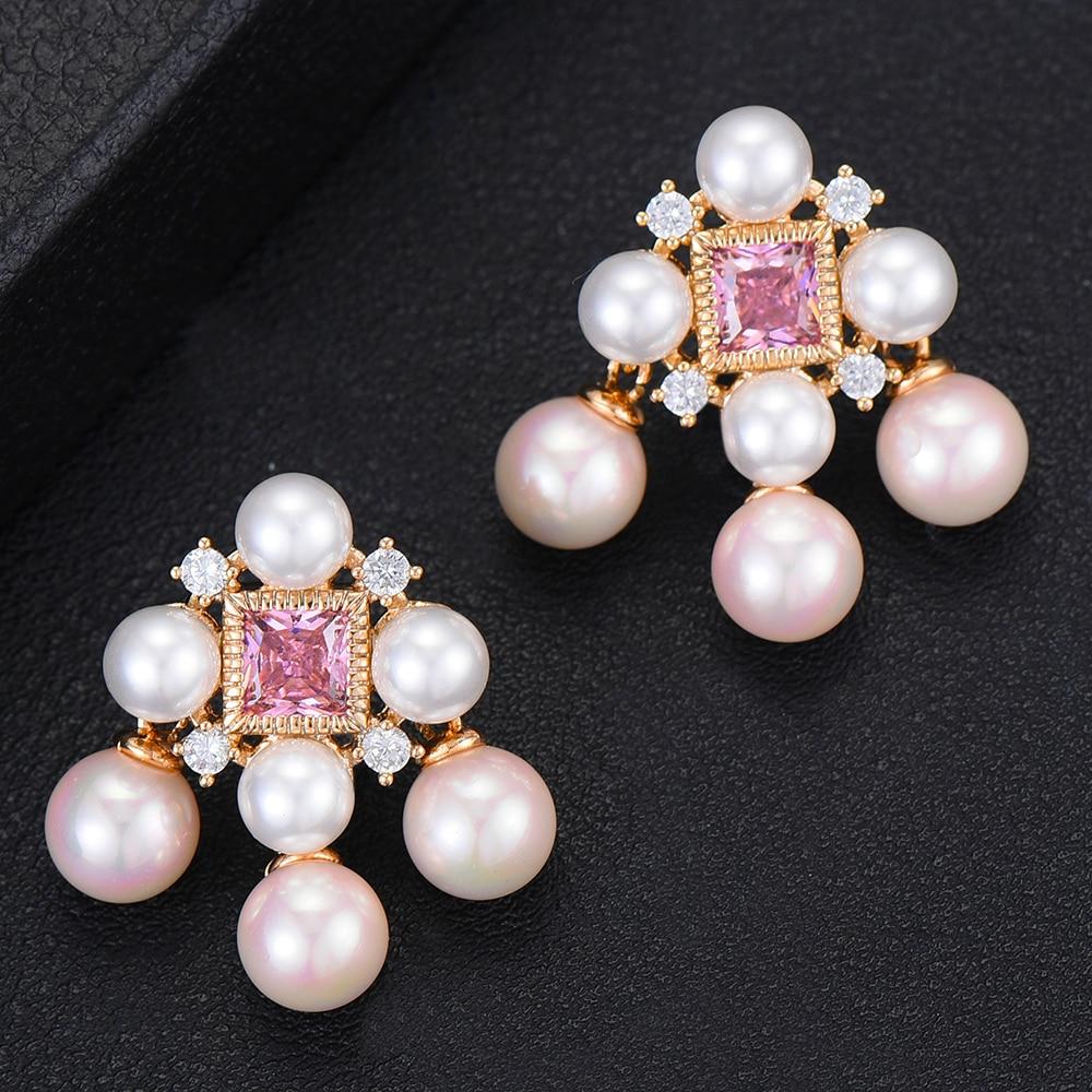 GODKI 30 MM Primavera Luxo Rosa Brincos Pendurados Para As Mulheres de Casamento Cubic Zircon Cristal Dubai Nupcial Brincos Moda Jóias 2019