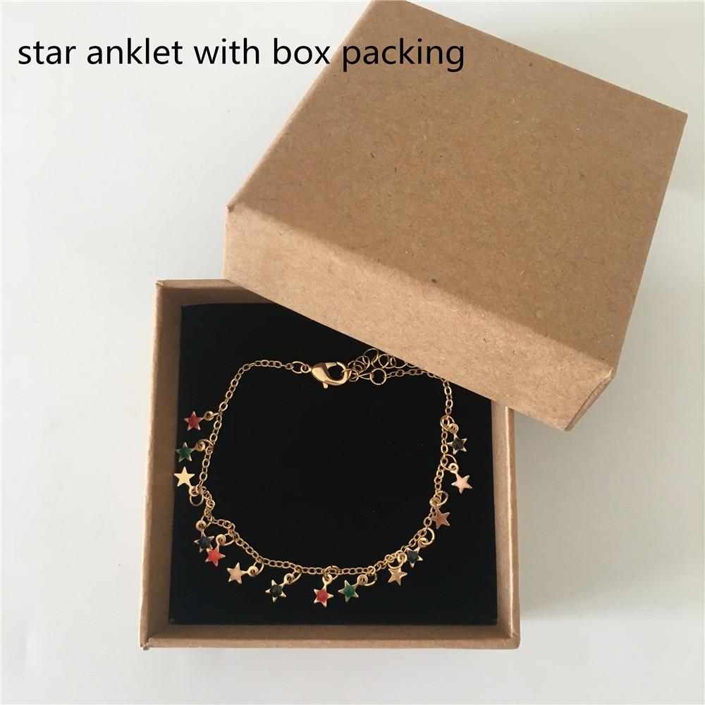 Encantador punto colorido chapado en oro en el disco redondo o encanto de estrella tobillera o pulsera para mujer