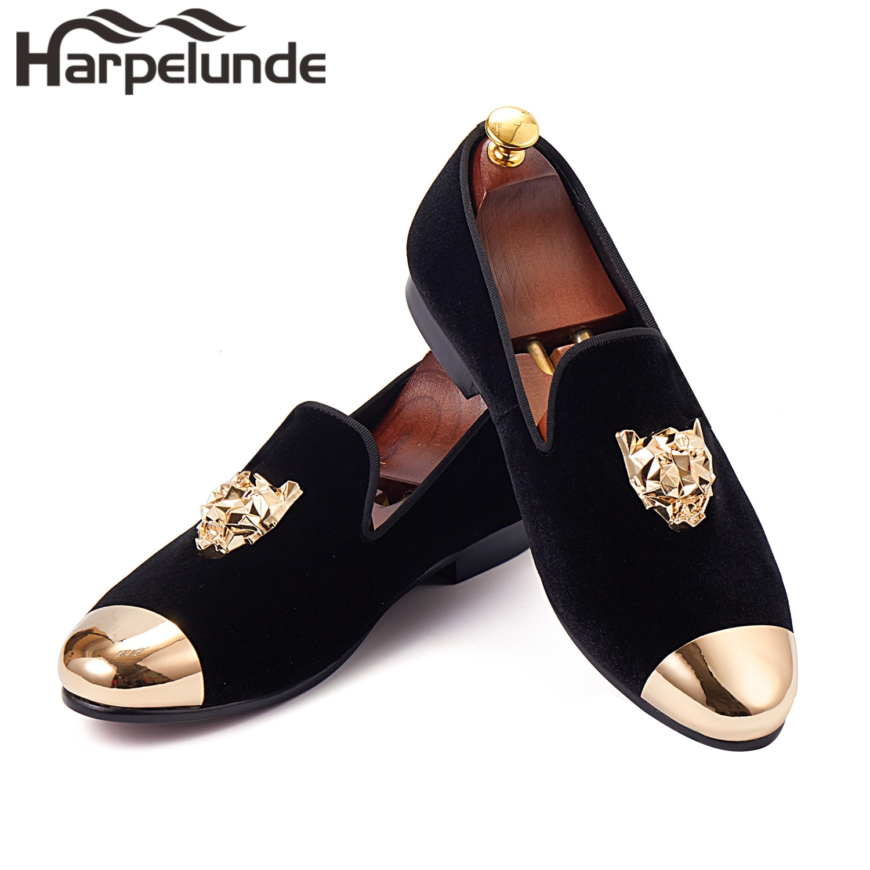 Harpelunde-حذاء موكاسين مخملي بإبزيم على شكل حيوان للرجال ، حذاء موكاسين أسود مع غطاء ذهبي ، مقاس 6-14
