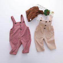 Otoño invierno Bebé chica mono Color caramelo niños de pana en general para las niñas mono mameluco PP Pantalones de Bebé Ropa de niño