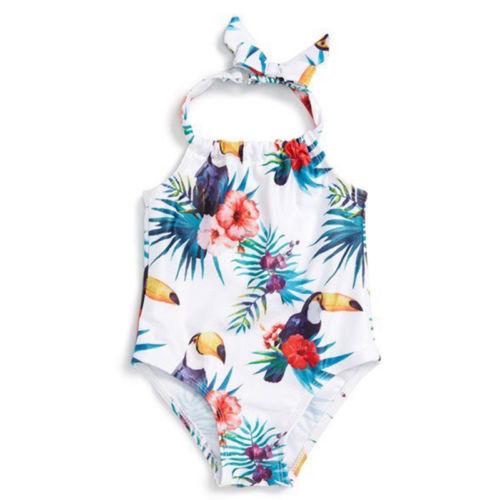 Cute Newborn Kid Baby Girls Swimwear Swimsuit Bathing Suit Beachwear Floral Sleeveless Summer Clothing Baby Girl 6M-4T
