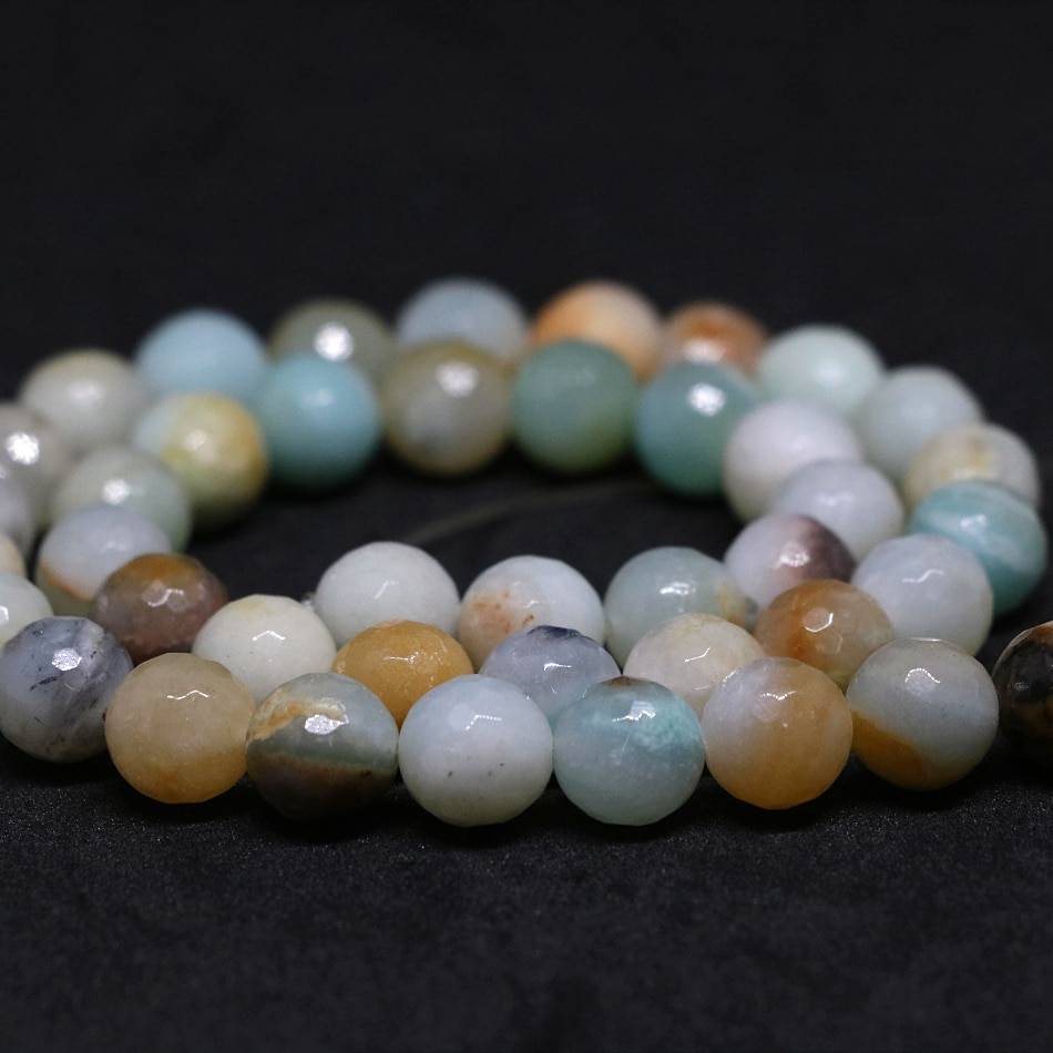 Fashion natural stone 6mm 8mm 10mm 12mm milky way amazonite faceted round loose beads diy hot sale Jewelry 15inch B123