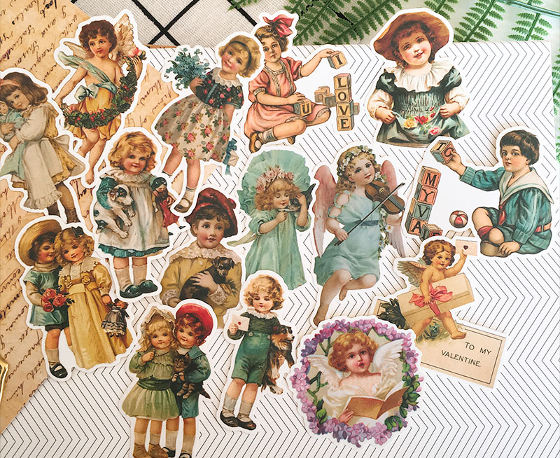 Retro European Angel Baby Sticker Decoration Stationery Sticker Diy Ablum Diary Scrapbooking Label Sticker Kawaii Stationery checkered kraft feather map flowers lines retro plant old letters background sticker diy ablum diary scrapbooking label sticker