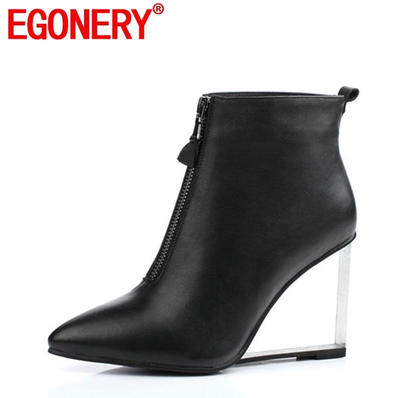 EGONERY cidade da moda mulher ankle boots com zíper lateral dedo apontado equestre estilo europeu e americano sapatos de Cristal