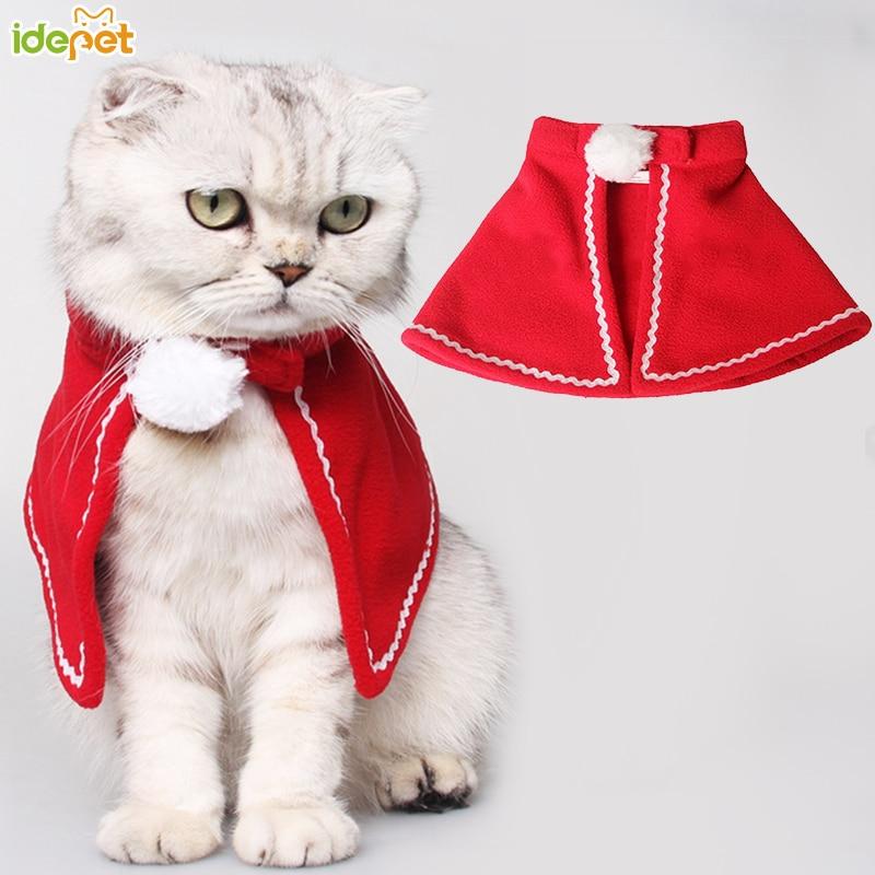 Christmas Cat Clothes Winter Pet Clothes for Cat Costume Warm Cat Coats Jacket Santa Claus Christmas Pet Apparel 10c35