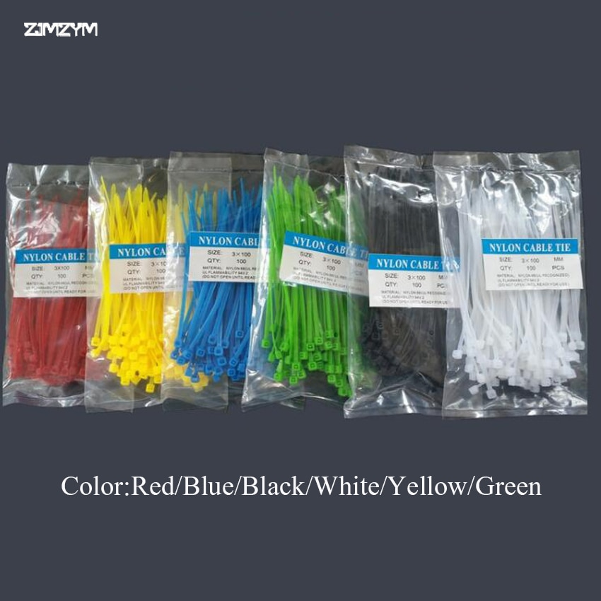 Оптовая продажа 100 шт./пакет 3*100 мм ширина 2,5 мм Красочные Заводские стандартные самоблокирующиеся пластиковые нейлоновые кабельные стяжки, ...
