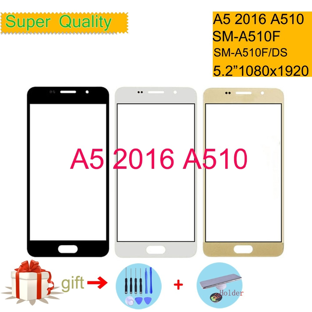 Para Samsung Galaxy A5 2016 a510 SM-A510F A510F SM-A510F/DS pantalla táctil frontal panel táctil de cristal lente de cristal exterior NO LCD