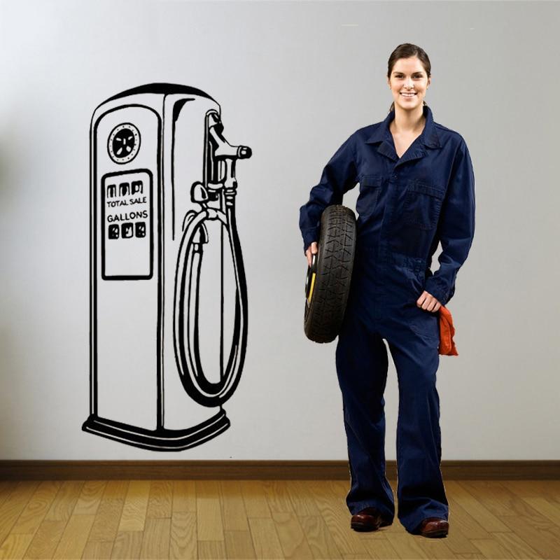 Газовый насос Наклейка на стену виниловые наклейки на стену для магазина автомобилей винтажные аксессуары для украшения дома высокое каче...