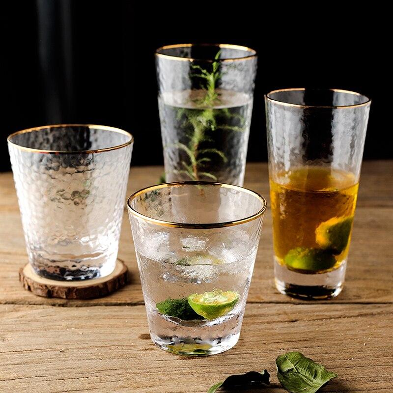 Taza de cristal transparente con borde dorado para agua, café, té, bebida, vaso de cristal para regalo, utensilios para bebidas, barra de jugo