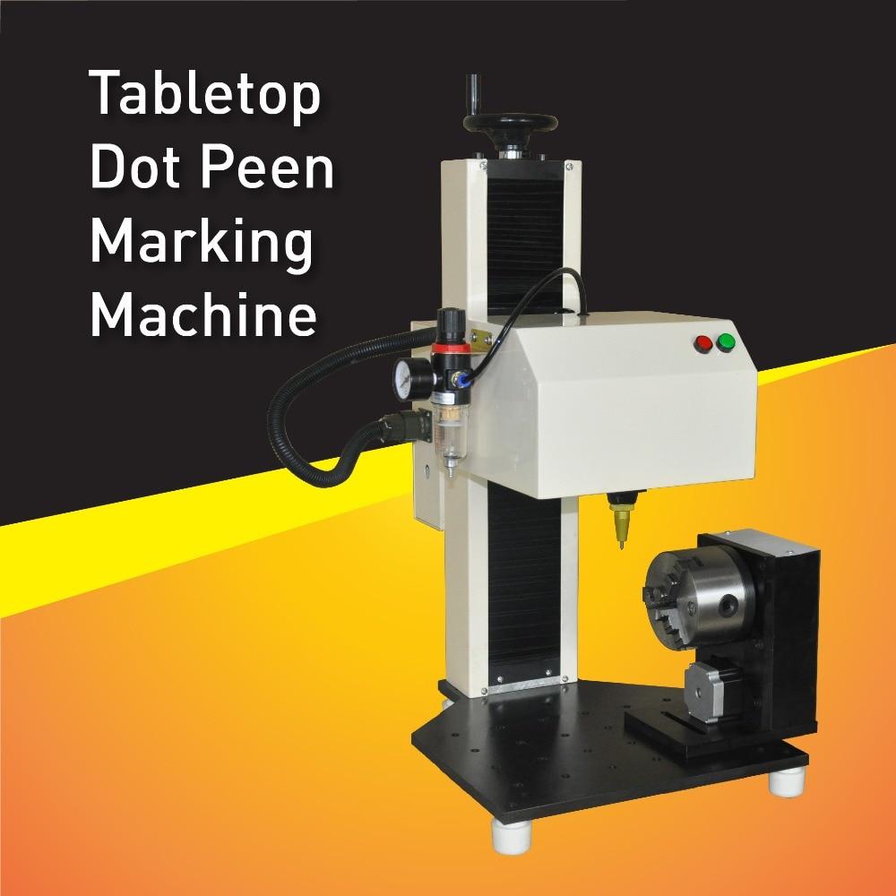 Gran oferta de marcador de Banco Industrial, máquina de marcado neumático de escritorio con accesorio giratorio para grabar en círculo y superficie plana