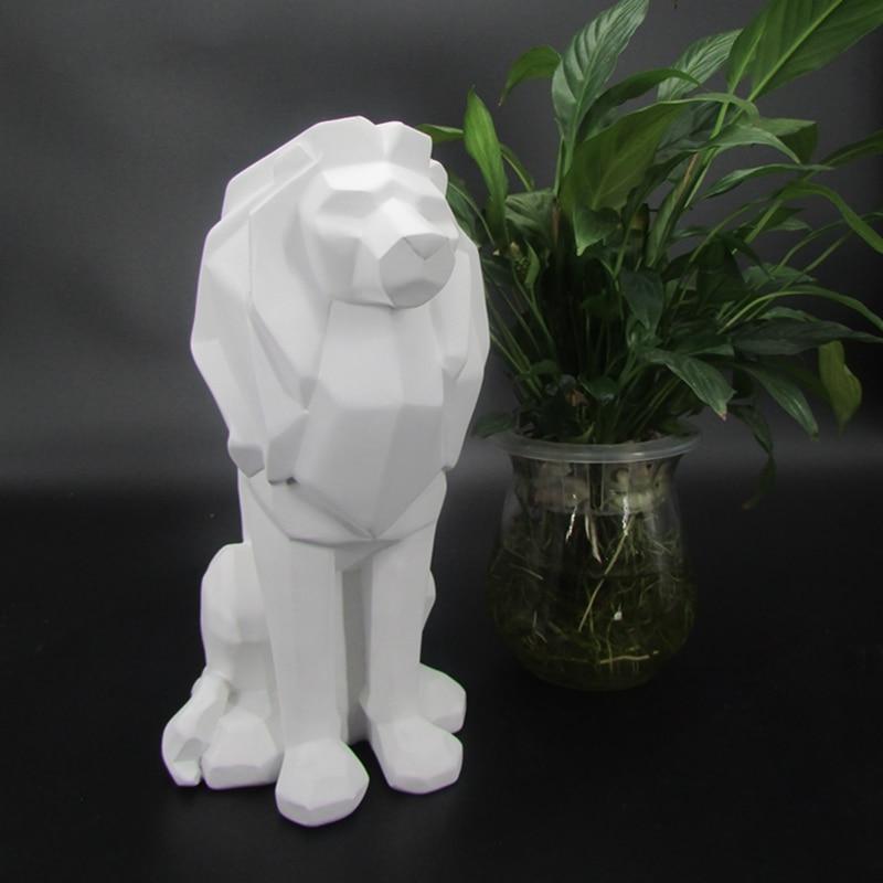 الإبداعية الأسد تماثل صمغي مجردة أسود أبيض الأسد الحيوان السلطة تمثال النحت للديكور المنزل العلية الحلي الهدايا