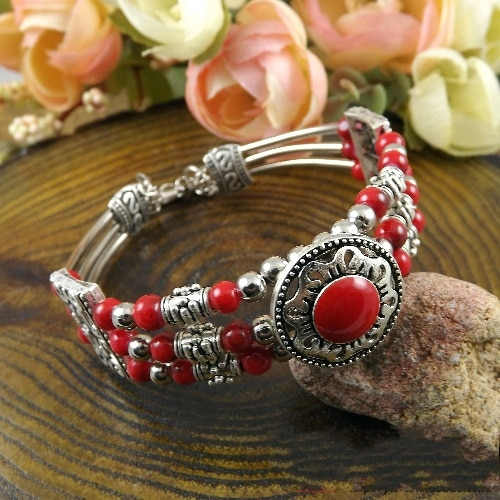 Pulsera Bohemia Vintage de moda rojo/azul/negro cuentas redondas brazalete tallado encanto pulsera A200G