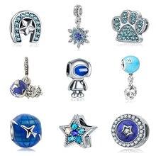 Nouveau Original perle alliage voyage Animal étoile amour Mickey Charm bleu Fit Pandora Bracelet collier bricolage femmes bijoux
