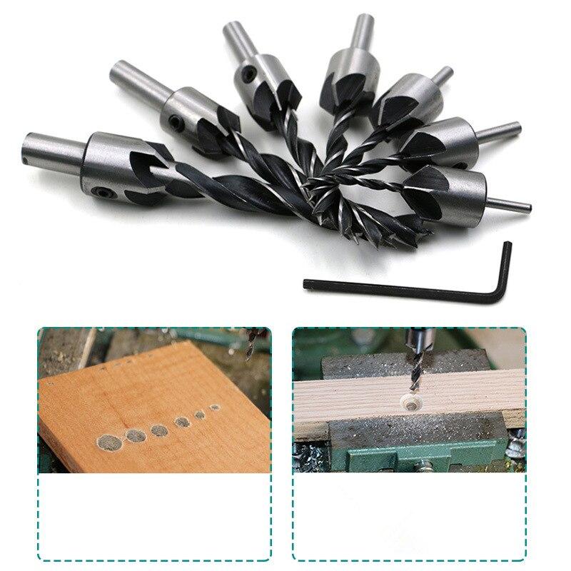 ZtDpLsd, 5 brocas de avellanado de flauta, fresa HSS, juego para carpintería, chaflán, prensa, carpintería + 1 Uds de llave inglesa