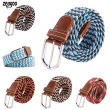 Casual Men Women Wild Woven Elastic Rubber Pin Buckle Net Fashion Color Canvas Elastic Belt