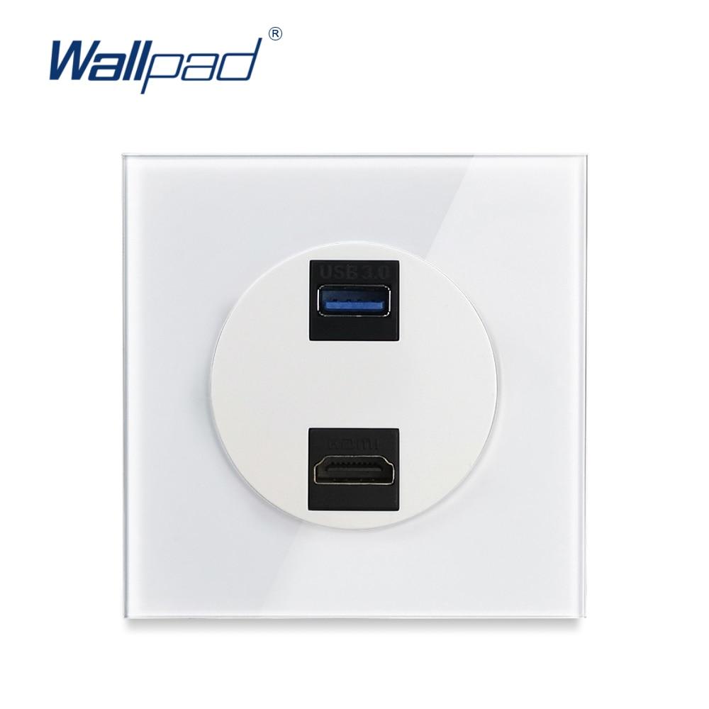 Wallpad L6-ملحقات اتصال USB 3.0 ، زجاج كريستالي أبيض ، منفذ HDMI