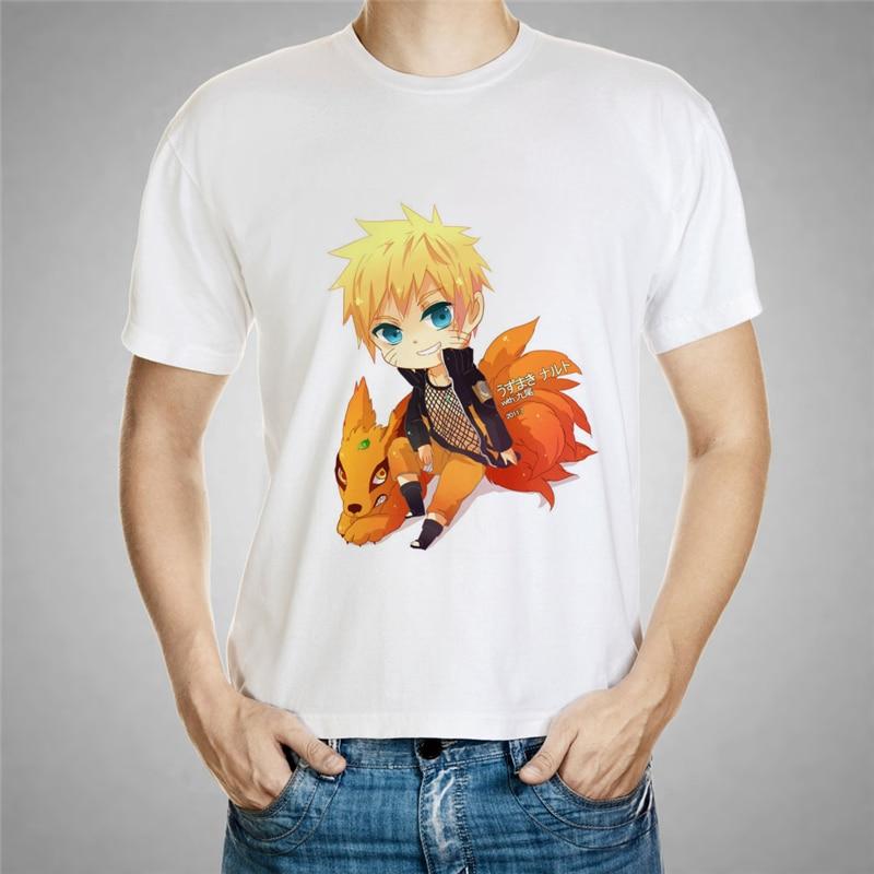 Camiseta de Naruto y Jiuwei con estampado de zorro de dibujos animados para hombres, nueva Camiseta corta para adolescentes, camiseta para adolescentes de Naruto, camiseta Gintoki 57-22 #