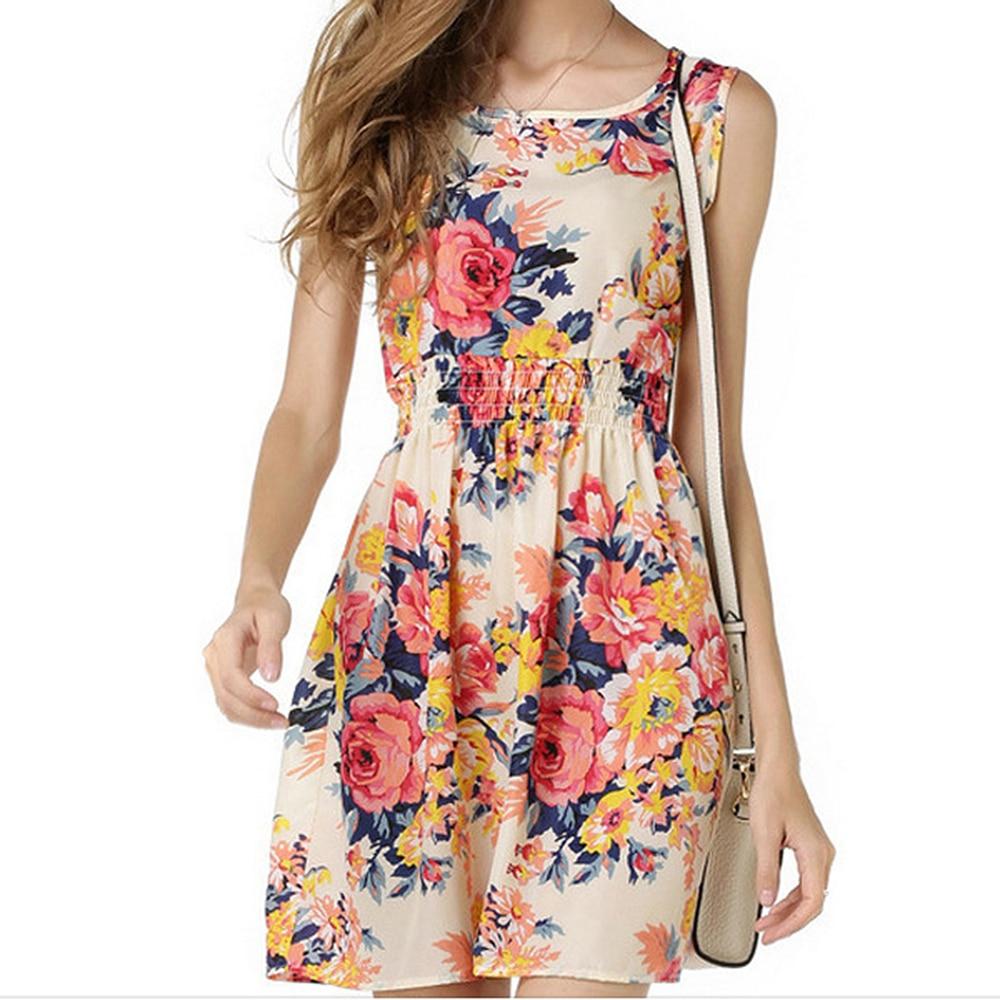 Women Sleeveless Floral Chiffon Print Dress Ladies Sleeveless Party Summer Beach Casual Plus Size M-2XL Vest Dresses New