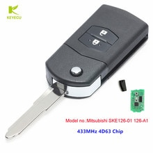 KEYECU New Upgraded Flip Car Remote Key Fob 2Button 433MHZ 4D63 for Mazda 2 3 5 6 MX5 RX8 P / N Mitsubishi SKE126-01 126-A1