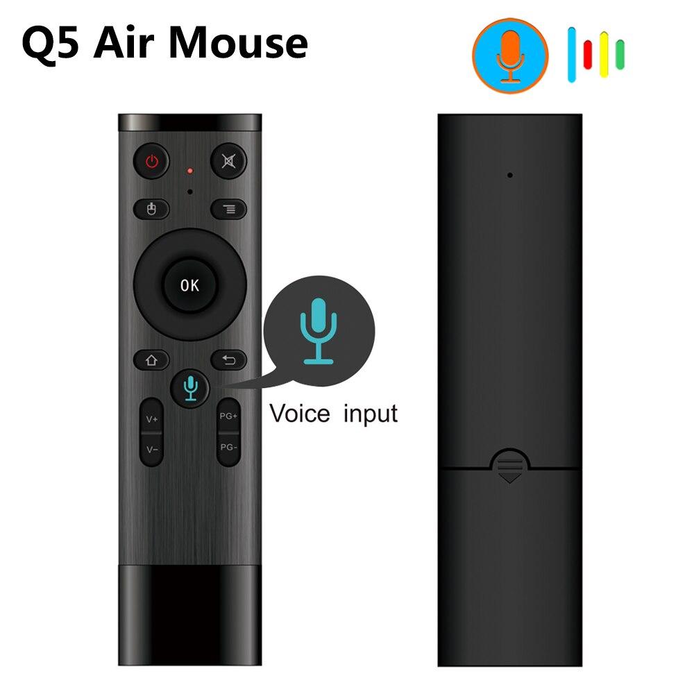 Control de voz Q5 ratón inalámbrico 2,4G RF Gyro Sensor Control remoto inteligente con micrófono para X96 H96 Android TV Box Mini PC
