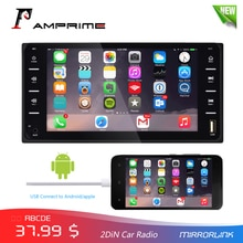 AMPrime-autoradio de 7 pouces   Écran tactile 2din, Bluetooth, MirrorLink, Android/IOS FM/AUX, caméra arrière, lecteur MP5