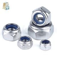 50Pcs DIN985 M2 M2.5 M3 M4 M5 M6 M8 304 Stainless Steel Nylon Self-locking Hex Nuts Locknut Slip Lock Nut HW020