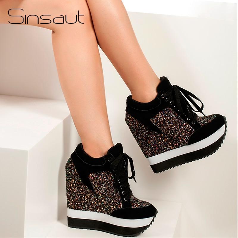 Sinsaut بريق أحذية النساء في المرأة مضخات زيادة عالية الكعب الأحذية إسفين كعب النساء مضخات Feminino Sapato Feminino