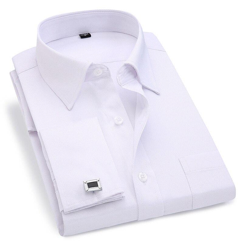 Camisa con gemelos franceses para hombre, novedad de 2020, camisa a rayas para hombre, camisas informales de manga larga para hombre, camisas ajustadas con puños franceses