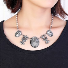 Vintage placage tibétain argent Cactus forme grande déclaration colliers et pendentifs bohême Western desert style maxi collier