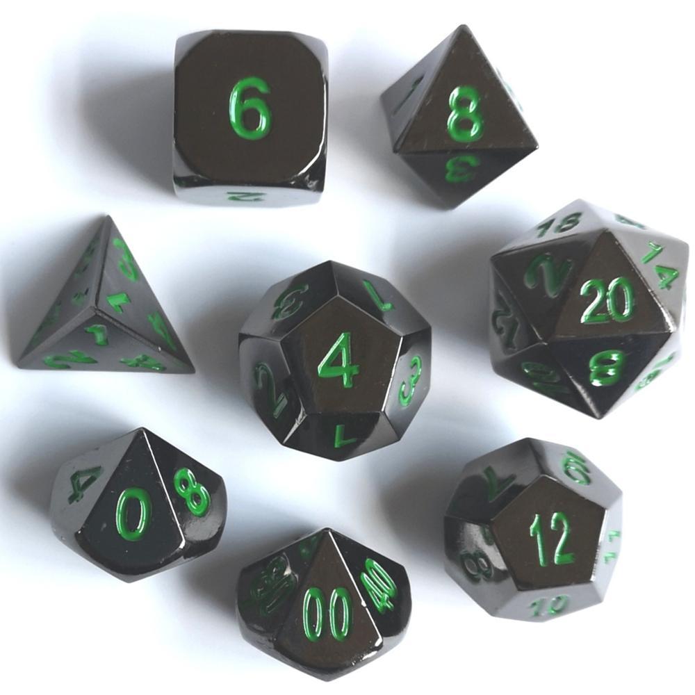 Rollooo de juego de dados estándar 7 + Particular 12 DE D4 níquel negro con verde para DND juego