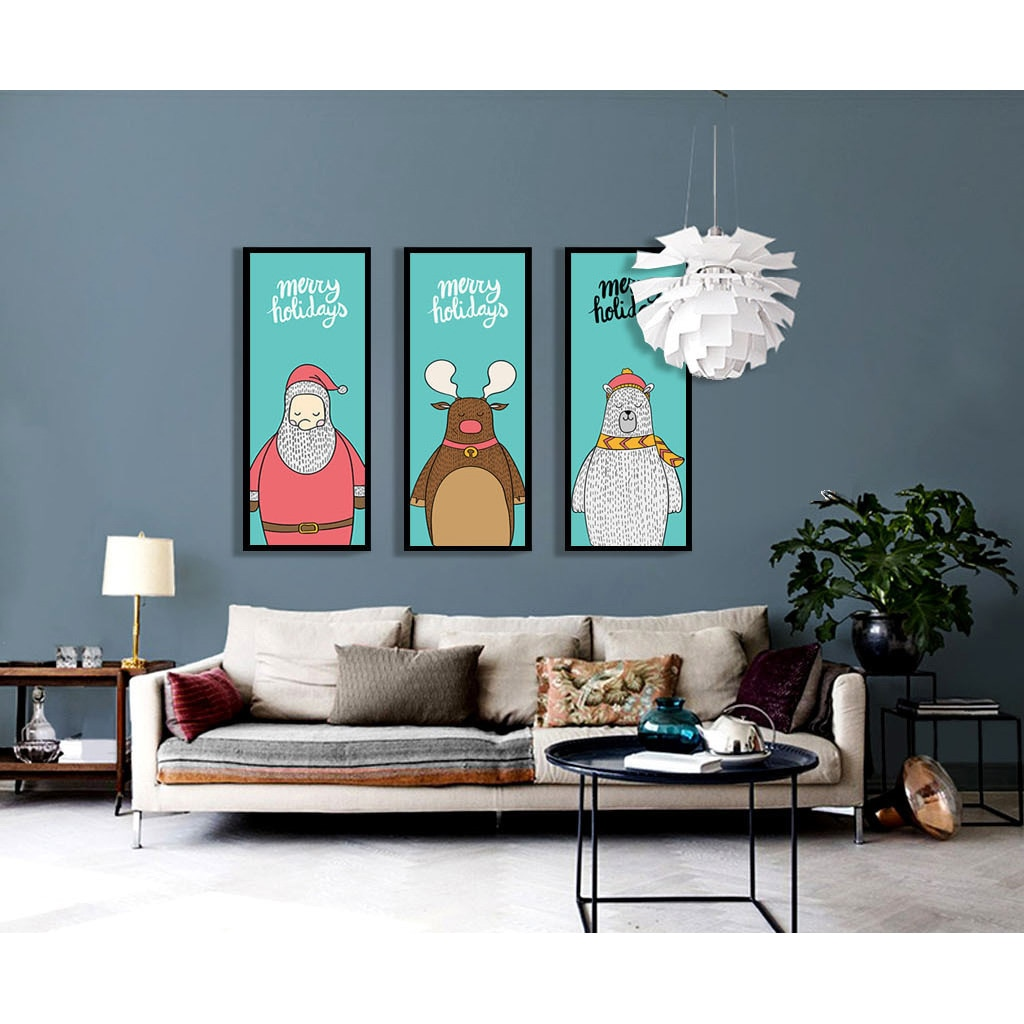 Cute Cartoon zwierząt minimalistyczny sztuka na płótnie plakat drukuj święty mikołaj Deer niedźwiedź Funny nowoczesne obraz przedszkola dla dzieci wystrój pokoju