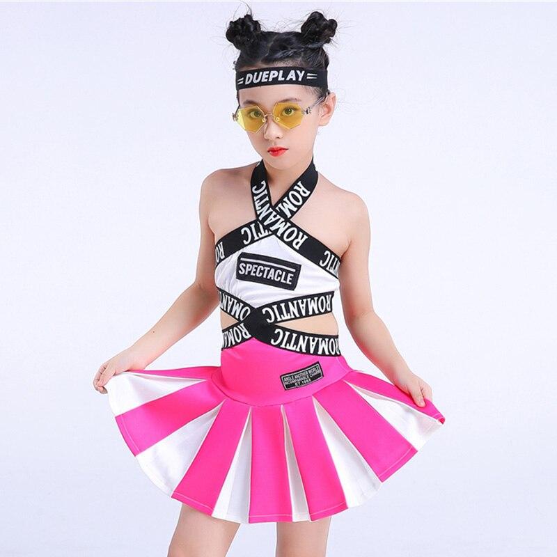 Trajes de baile de Jazz para niñas Rosa niños ropa de porristas de baile de Hip Hop traje de calle rendimiento ropa F360