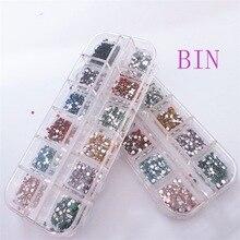 1Box(3000Pcs) Mixed Acrylic Round Beads For Needlework FlatBack Cabochon Scrapbook Decoration DIY Embellishments Accessories