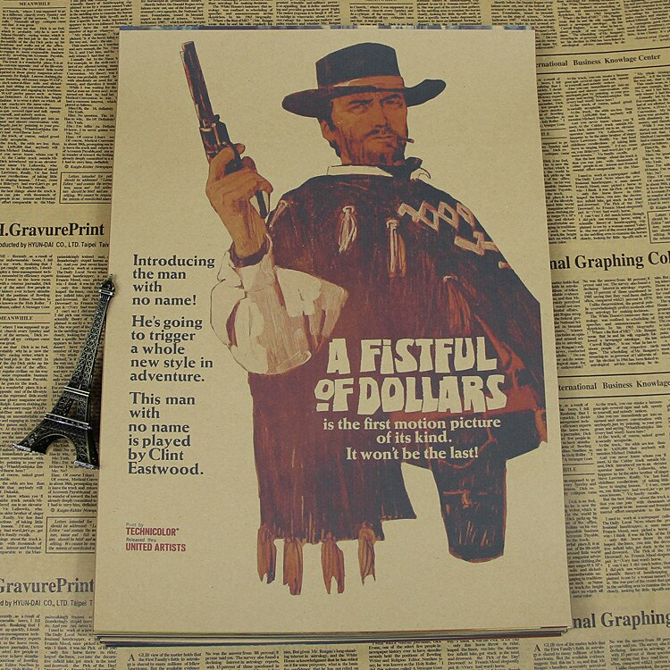 La trilogía de un montón de dólares por unos pocos dólares más oro tres dólares clásico occidental cartel de película retro papel kraft