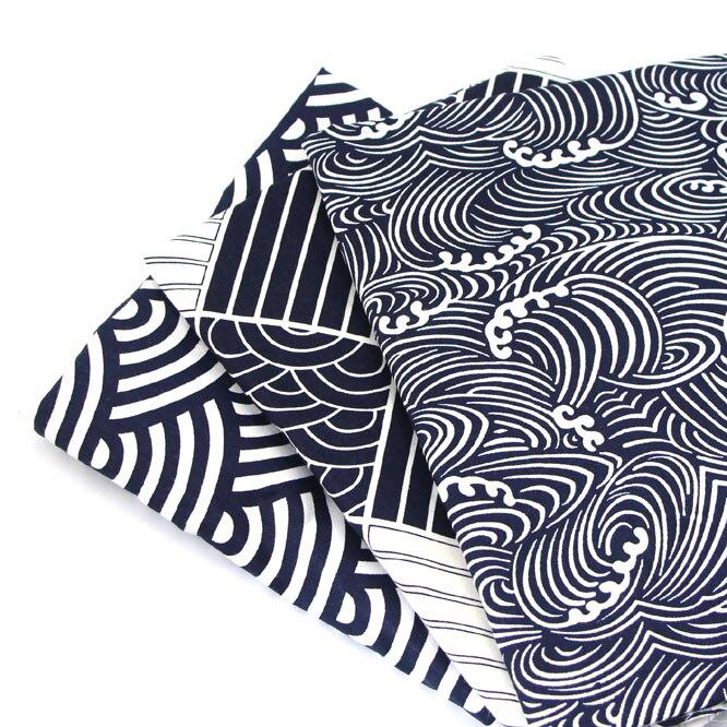 Syunss, Navy Wave 3 Estilo impreso tela de algodón bricolaje pañuelo de retales Telas coser bebé juguete ropa de cama tejido acolchado Tilda la tela