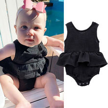 Pudcoco Newborn Baby Girl Summer Clothes Sleeveless Ruffle Romper Bodysuit Jumpsuit Sunsuit Playsuit