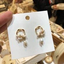 2018 New Korea Vintage Geometric Simulated Pearl Samll Cute Drop Earrings For Women Fashion Jewelry Elegant Pendientes