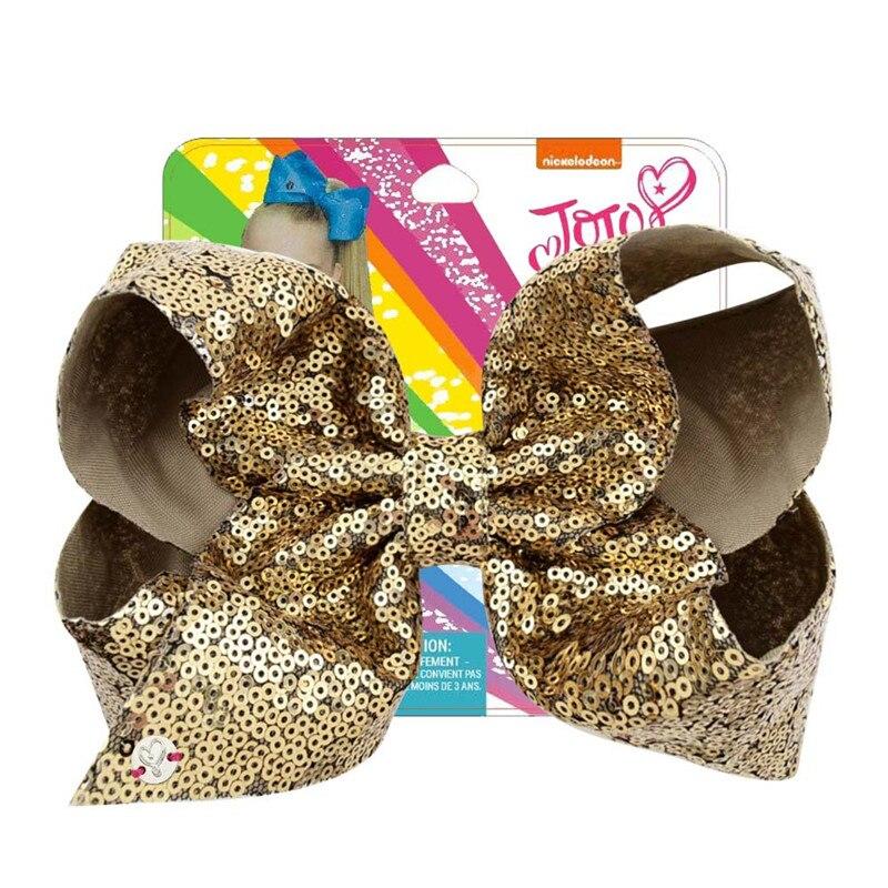 "8 ""ouro jojo siwa lantejoulas arcos de cabelo com clipe peixe artesanal escalas de tecido metálico hairgrips moda acessórios para cabelo para meninas"