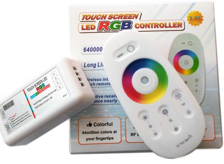 DC12-24V 18A 2,4G pantalla táctil RF control remoto RGB para tira de luz LED