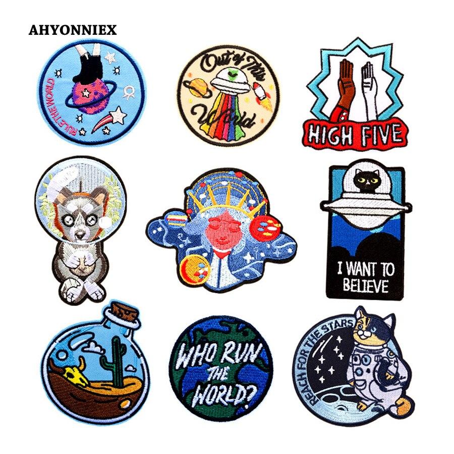 5 uds. Pasadores de platillo volador de astronauta bordado AHYONNIEX, parches de hierro sobre calcomanías para ropa de niños, accesorios de Jeans DIY