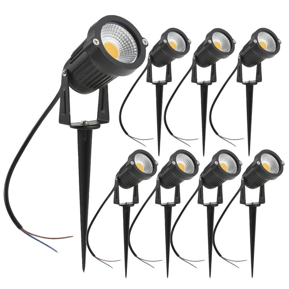 4 шт. 5 Вт светодиодные Ландшафтные светильники 12 В водонепроницаемые садовые светильники для дорожек стены деревья флаги наружные прожекторы с шипами ЛУЖАЙКИ ЛАМПЫ