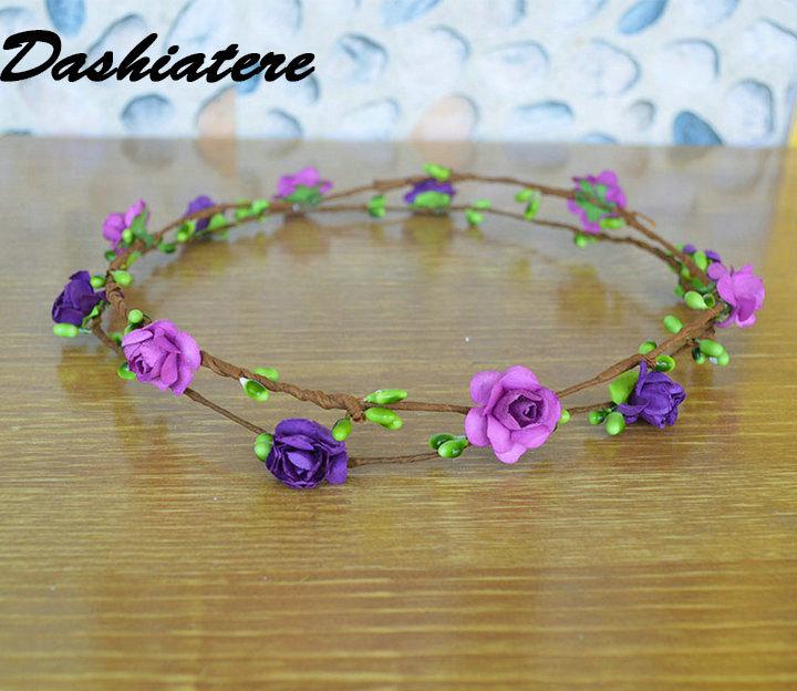 6 uniunids/lote es/lote bandas de cabeza de damas de honor luz púrpura Bicolor Simple banda de pelo Floral para mujeres accesorios para bodas románticas