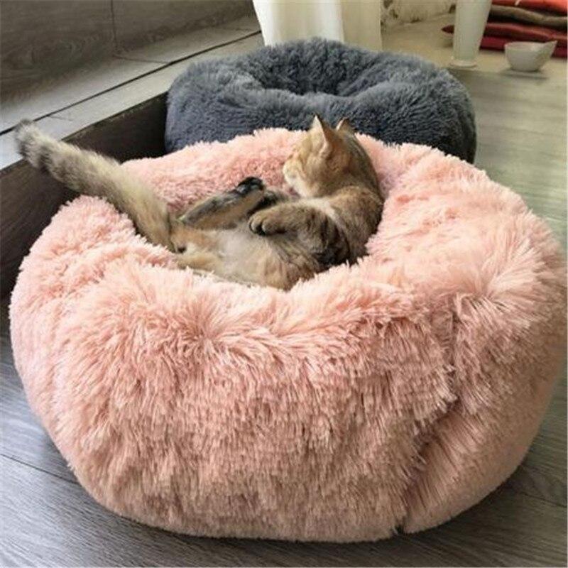Saco de dormir largo de felpa supersuave con lecho de Mascota, caseta para perro, gato redondo, saco de dormir cálido para invierno, cojín para cachorro, Gato de suministro para portátil de esterilla 50/60/70/80cm