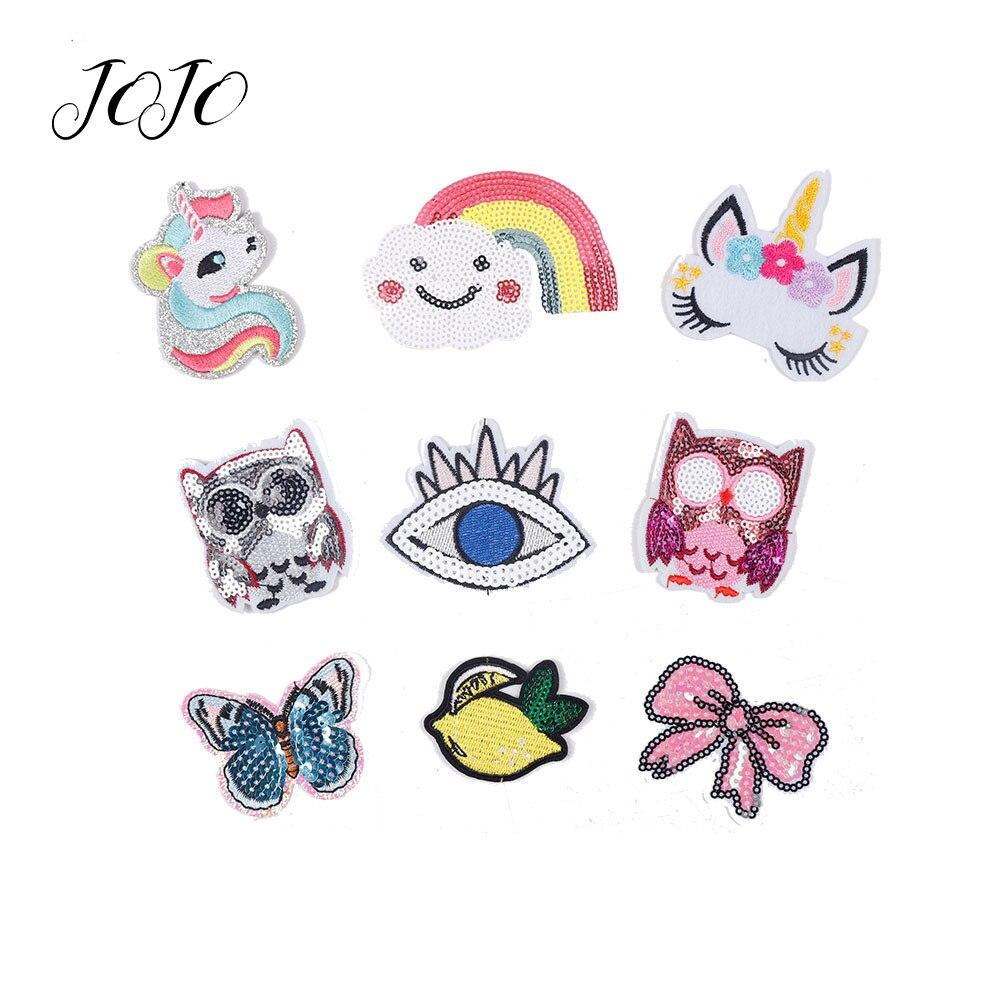 Lazos de Jojo lentejuela brillante parche unicornio arco Ojo de arco iris accesorio de búho para costura DIY Arco del pelo artesanía suministros decoración de la boda