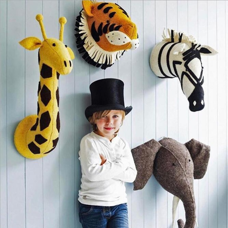 Baby Girl Room Decor Animal Head Wall Decor 3D Decor Wall Hanging Plush Wall Stuff Juguetes Bebes 24 Meses Nacimiento Navidad